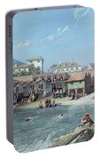 The Beginning Of Sea Swimming In The Old Port Of Biarritz  Portable Battery Charger
