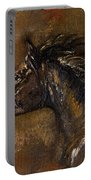 The Black Horse Oil Painting Portable Battery Charger