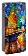 The Bridges Of Amsterdam - Palette Knife Oil Painting On Canvas By Leonid Afremov Portable Battery Charger