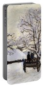 The Carriage- The Road To Honfleur Under Snow Portable Battery Charger
