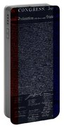 The Declaration Of Independence In Negative R W B Portable Battery Charger by Rob Hans