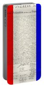 The Declaration Of Independence In Red White Blue Portable Battery Charger by Rob Hans