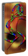 The Girl With Kaleidoscope Lines Portable Battery Charger