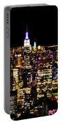 The Glow Of The New York City Skyline Portable Battery Charger
