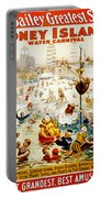 The Great Coney Island Water Carnival Portable Battery Charger by Georgia Fowler