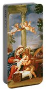 The Holy Family With St. Elizabeth And St. John The Baptist, C.1645-50 Oil On Copper Portable Battery Charger