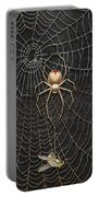 The Hunter And Its Pray - A Gold Fly Caught By A Gold Spider Portable Battery Charger
