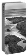 The Jagged Rocks And Cliffs Of Montana De Oro State Park In California In Black And White Portable Battery Charger