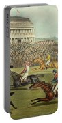 The Liverpool Grand National Steeplechase Coming In Portable Battery Charger by Charles Hunt and Son