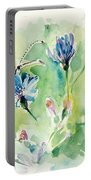 The Love Between Butterfly And Chicory Portable Battery Charger