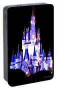 The Magic Kingdom Castle In Blue And Purple Walt Disney World Fl Portable Battery Charger