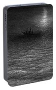 The Marooned Ship In A Moonlit Sea Portable Battery Charger