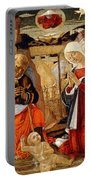 The Nativity With The Annunciation To The Shepherds In The Distance Portable Battery Charger