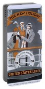 The New Holiday, Vintage Travel Poster Portable Battery Charger