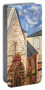 The Old French Mill Watercolor Art Prints Portable Battery Charger