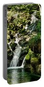 The Old Troll Caught By The Sun Admiring The Forest Waterfall Portable Battery Charger