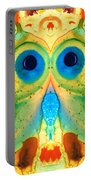 The Owl - Abstract Bird Art By Sharon Cummings Portable Battery Charger