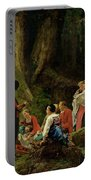The Pilgrims From The Abbey Of St. Odile Oil On Canvas Portable Battery Charger