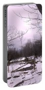 The Pink Winter Light On The Mountain Top Portable Battery Charger