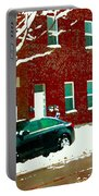 The Point Pointe St Charles Snowy Walk Past Red Brick House Winter City Scene Carole Spandau Portable Battery Charger