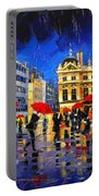 The Red Umbrellas Of Lyon Portable Battery Charger