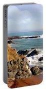 The Rocky Coastline Meets The Ocean Portable Battery Charger