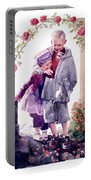 Watercolor Of A Boy And Girl In Their Secret Garden Portable Battery Charger