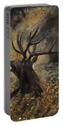 the Stag sitting in the grass oil painting Portable Battery Charger
