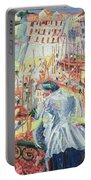 The Street Enters The House Portable Battery Charger by Umberto Boccioni