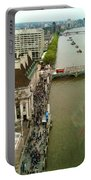 The Thames River And The Flag Of England Portable Battery Charger