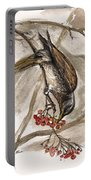 The Thrush Eating Cranberries Portable Battery Charger