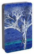 The Tree In Winter At Dusk - Painterly - Abstract - Fractal Art Portable Battery Charger