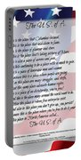 The U.s.a. Flag Poetry Art Poster Portable Battery Charger by Stanley Mathis