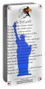 The Usa Statue Of Liberty Poetic Art Poster Portable Battery Charger by Stanley Mathis