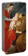 The Virgin Presents The Infant Jesus To Saint Francis Portable Battery Charger