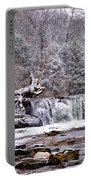 The Waterfall Near Valley Green In The Snow Portable Battery Charger