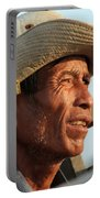 The Weathered Face Of An Ox Cart Driver Portable Battery Charger
