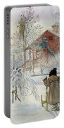 The Yard And Wash House Portable Battery Charger by Carl Larsson