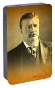 Theodore Teddy Roosevelt Portrait And Signature Portable Battery Charger