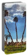 Three Abstract Palm Trees  Portable Battery Charger