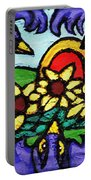 Three Crows And Sunflowers Portable Battery Charger by Genevieve Esson