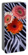 Three Daises In Striped Vase Portable Battery Charger
