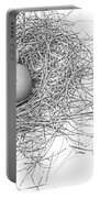 Three Eggs In A Nest Black And White Portable Battery Charger