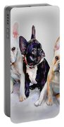Three Frenchie Puppies Portable Battery Charger by Jane Schnetlage