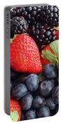 Three Fruit Closeup - Strawberries - Blueberries - Blackberries Portable Battery Charger