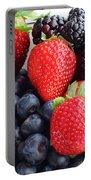 Three Fruit - Strawberries - Blueberries - Blackberries Portable Battery Charger by Barbara Griffin