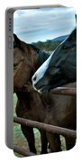 Three Horses Waiting For Carrots Portable Battery Charger