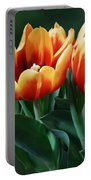 Three Orange And Red Tulips Portable Battery Charger