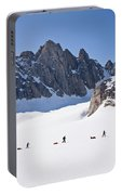 Three People Ski-tour On Karale Glacier Portable Battery Charger