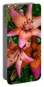 Three Pink Lilies Portable Battery Charger by Omaste Witkowski